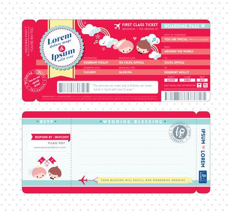 Carino carta d'imbarco Biglietto Invito a nozze Template Vettoriali
