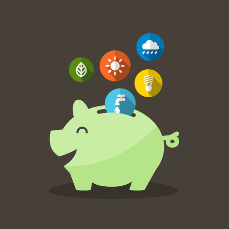 Energy Saving with Piggy Bank Vector Illustration
