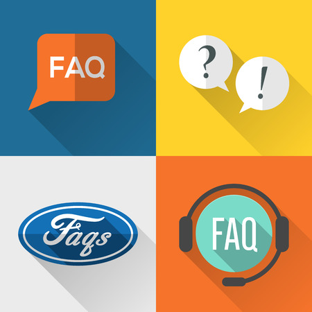 FAQ (frequently asked questions) icons set flat design Vector