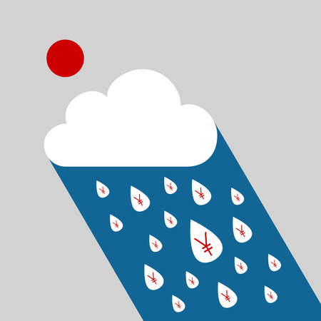 Yen currency symbol in raindrop falling from the sky with money concept Vector