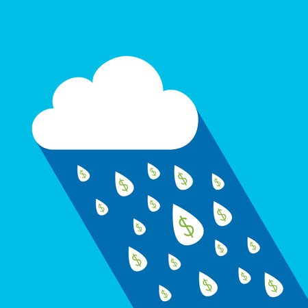 Dollar symbol in raindrop falling from the sky with money concept Vector