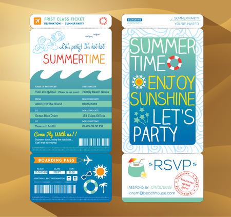 여름 카드 여름 휴가 파티 탑승권 배경 템플릿