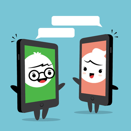 design media love: Smart phone chat online concept, cartoon man and woman face on smart phone screen
