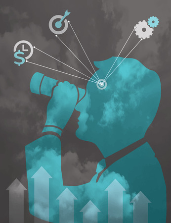 Silhouette Man with binocular business vision concept illustration Vector