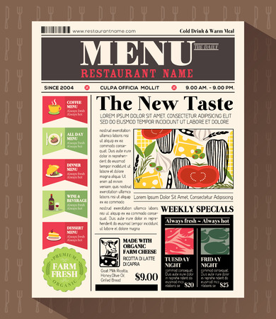 Restaurant Menu Design Template in Newspaper style Vector