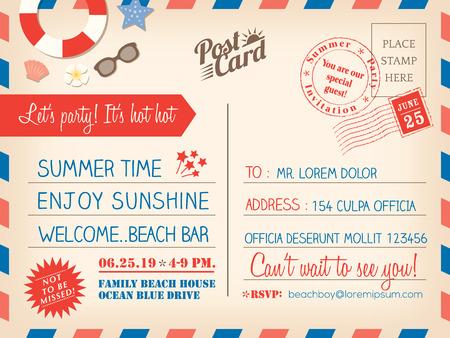 timbre voyage: Carte postale de vacances d'été de cru de fond vecteur modèle de carte d'invitation