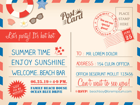 postcard background: Vintage summer holiday postcard background vector template for invitation card