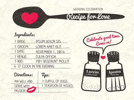 cocina caricatura: Diseño de la invitación de la boda creativa tarjeta de la receta con el concepto de la sal y de pimienta para cocinar