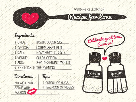 cook cartoon: Recipe card creative Wedding Invitation design with salt and pepper shaker cooking concept