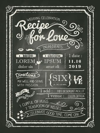Recept krijtbord Uitnodiging kaart Bruiloft achtergrond Stock Illustratie