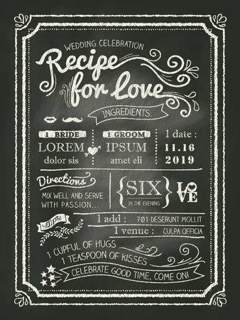 Recipe chalkboard Wedding Invitation card background Vector