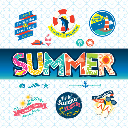 Summer design element label badge icon set Vector