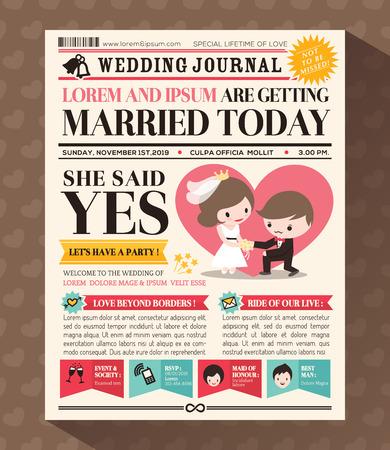 hochzeit: Cartoon Zeitungsblatt-Hochzeits-Einladung Design-Vorlage