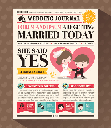 Cartoon Newspaper Journal Wedding Invitation Design Template