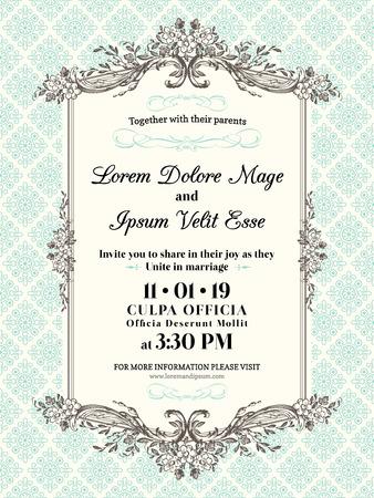 Invitación de la boda de la vendimia Modelo de la frontera y el marco