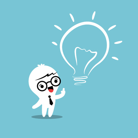 eureka lightbulb idea cartoon Vector