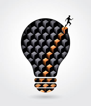 Creative thinking solution business concept illustration with a man walking out of lightbulb  Illustration