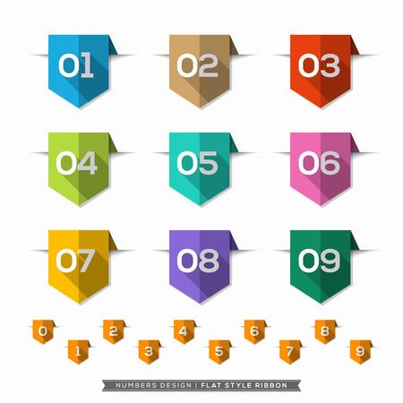 Label bladwijzer met Aantal lange schaduw Flat Icons Set Stock Illustratie