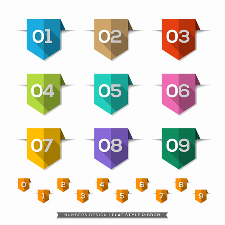 five elements: Label bookmark with Number long shadow Flat Icons Set