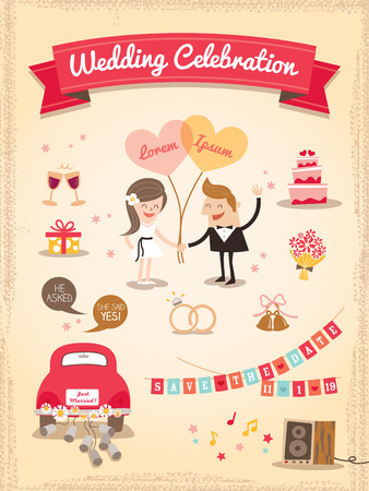 just married: Conjunto de dibujos animados de boda Elementos de dise�o vectorial