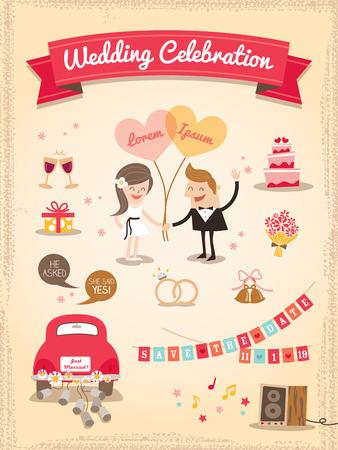 dattes: Ensemble de bande dessin�e de mariage des �l�ments de conception vecteur