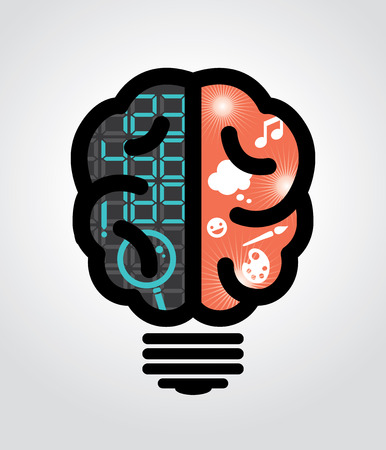 Idea bulb left brain right brain illustration Vector
