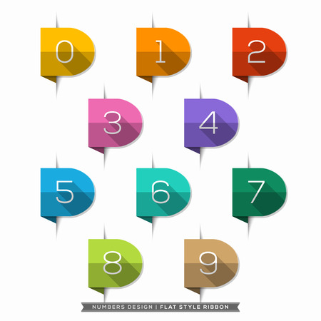 Label bookmark with Number long shadow Flat Icons Set Vector