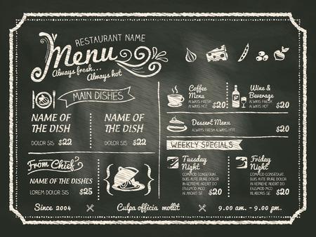meny: Restaurang Mat Menu Design med Svarta tavlan bakgrund Illustration