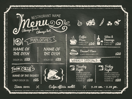 cafe: Restaurant Food Menu Design with Chalkboard Background Illustration