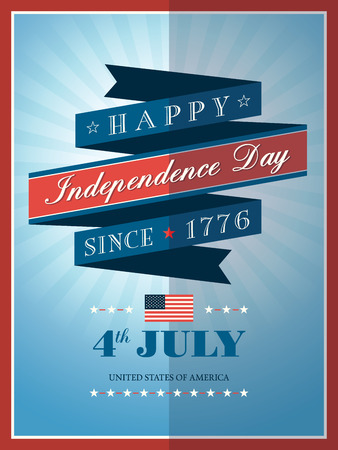 카드 또는 포스터 7 월 독립 기념일 리본 배경의 4 일러스트
