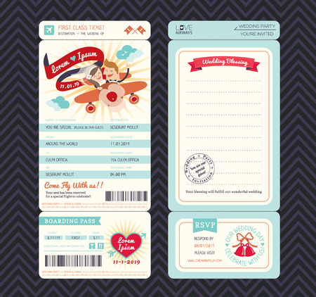 pass: Cartoon Boarding Pass Ticket Wedding Invitation Template Vector Illustration
