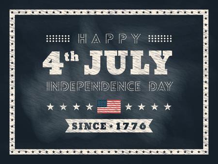 4 juli Independence day schoolbord achtergrond voor kaart of poster Stock Illustratie