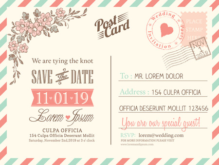 air mail: Vintage postcard background vector template for wedding invitation