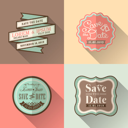 Retro Wedding frame flat design icon set for tag label sticker badge Vector