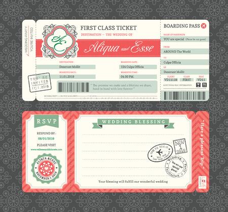 passport: Plantilla de la invitaci�n de la boda Boarding Pass Vintage Ticket Vectores