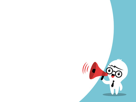 speaker icon: Business man on megaphone make an announcement with bubble speech