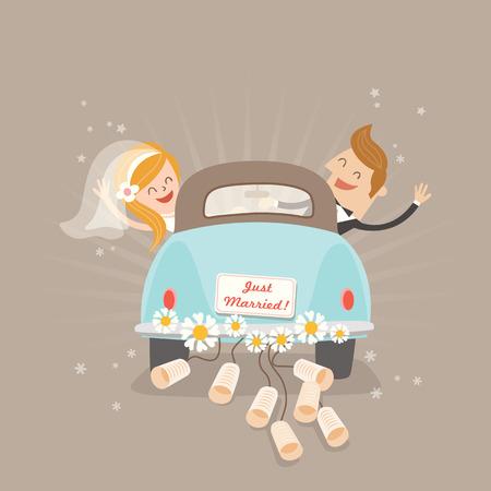 pareja de esposos: Apenas pares casados ??en coche dibujos animados