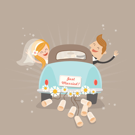 Just married couple in car cartoon