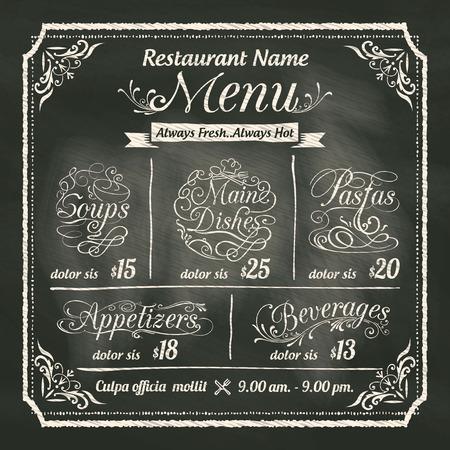 carta de postres: Food Restaurant Menu Design con el fondo de pizarra