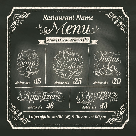 black dish: Restaurant Food Menu Design with Chalkboard Background Illustration
