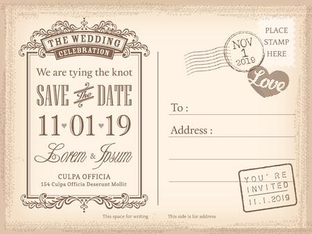 Carte postale vintage enregistrer le fond de la date de l'invitation de mariage