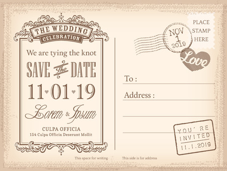 date: Vintage postcard save the date background for wedding invitation