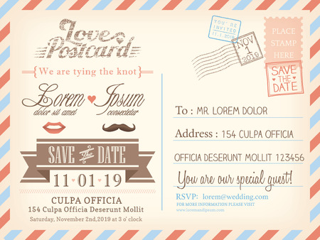 date stamp: Vintage airmail postcard background template for wedding invitation card