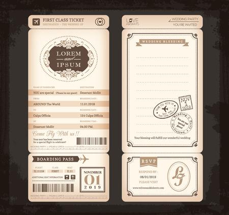 by passes: Boarding estilo Vintage Antiguo Pass Ticket fondo de la tarjeta de boda Vectores