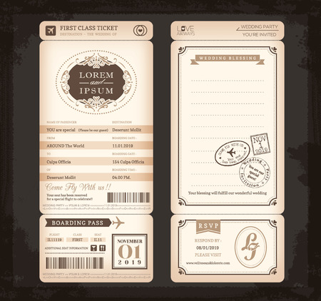 passport stamp: Old Vintage style Boarding Pass Ticket Wedding card background Illustration