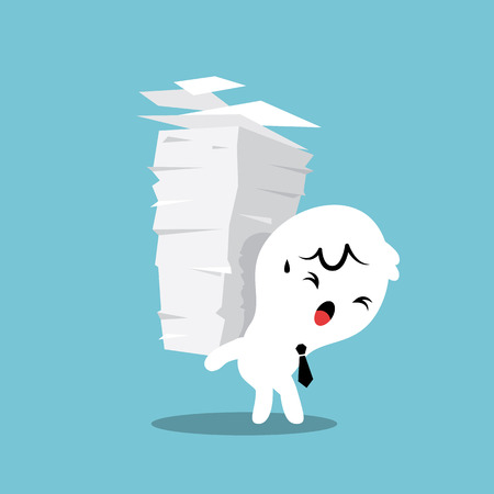 work load: Business man carrying a stack of paper with work load concept