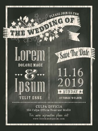 save the date: chalkboard Wedding Invitation card background Illustration