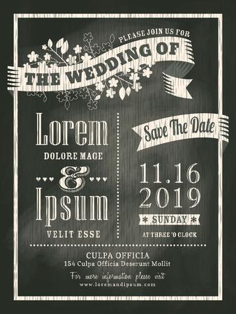 krijtbord Bruiloft Uitnodiging kaart achtergrond