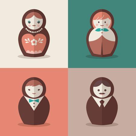 muñecas rusas: Novio de la muñeca rusa y novia iconos de la boda Vectores