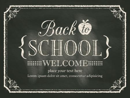 Back to School vintage black chalk board background
